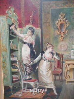 Tableau ancien XIX 19 siècle peinture femme scene interieur demeure maison