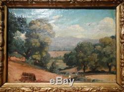 Tableau ancien XIX 19 siècle peinture gout école Barbizon paysage campagne