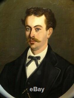 Tableau ancien XIX° portrait d'homme, signé J. WENZEL 1876