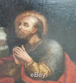 Tableau ancien XVII ST Pierre peinture religieuse