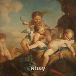 Tableau ancien angelots huile sur toile peinture 800 19ème siècle français art