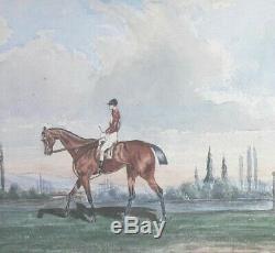Tableau ancien aquarelle 1860 second empire cheval cavalier equitation peinture