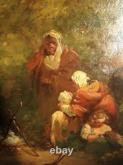 Tableau ancien att. George Morland huile panneau bois peinture XIXème anglais