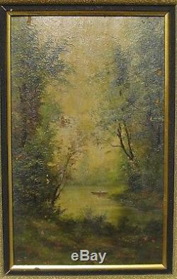 Tableau ancien, école de Barbizon, paysage sous bois, signé A. Bonnaud
