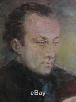 Tableau ancien grand portrait couple Ecole de Paris Peinture Huile cadre