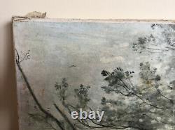 Tableau ancien gravure rehaussée de peinture COROT (1796-1875)