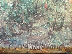 Tableau ancien gravure rehaussée de peinture Ernest Charles Walbourn