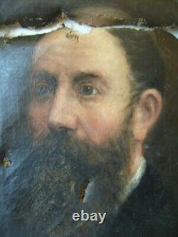 Tableau ancien huile peinture toile portrait homme barbu barbe 19e à restaurer