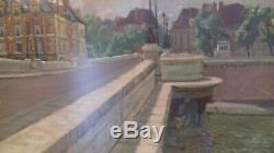 Tableau ancien huile sur papier Pont de Paris de Marco Béhar