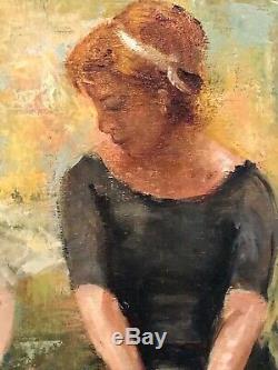 Tableau ancien huile sur toile beau portrait de 2 danseuses XX ème signé encadré