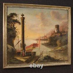 Tableau ancien huile sur toile cadre paysage marine 700 18ème siècle peinture
