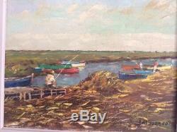 Tableau ancien huile sur toile encadrée signée Jacques Touzard, paysage vendéen