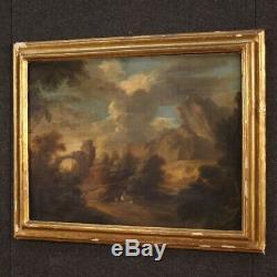 Tableau ancien huile sur toile paysage peinture personnages ruines 800