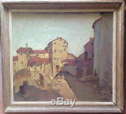 Tableau ancien impressionniste Village rue animée Huile sur panneau signée c1934