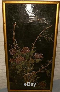 Tableau ancien laque de Chine/panneau, signé, 1900, fleurs, colibris, libellule