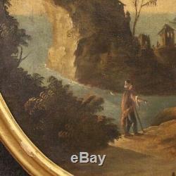 Tableau ancien marine paysage peinture ovale huile sur toile 700 18ème siècle