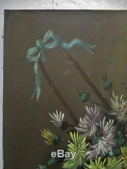 Tableau ancien nature morte aux fleurs signé peinture huile /toile fin XIXe 1900