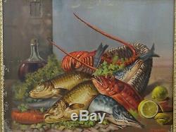 Tableau ancien nature morte aux poissons et crustacés, signé D. MARTEL 1911