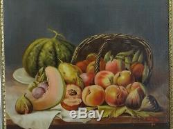 Tableau ancien, nature morte péches, melons, figues (H. S. T) signé D. MARTEL 1911