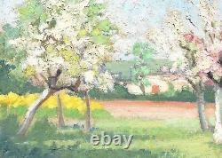 Tableau ancien paysage Arbre en fleurs Peinture à l'huile sur toile