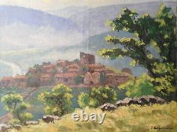 Tableau ancien paysage campagne peinture village sud France montagne ruche