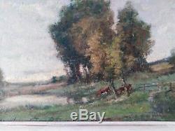 Tableau ancien paysage champêtre pâturage André Des fontaines vaches pastoral