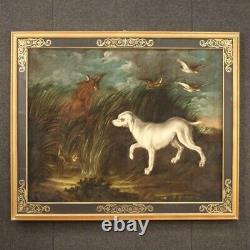 Tableau ancien paysage peinture huile sur toile cadre chiens 700 18ème siècle