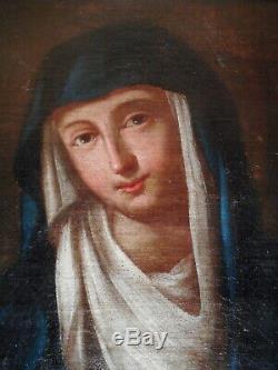 Tableau ancien peinture 18 siècle portrait Sainte Vierge Marie gout icone