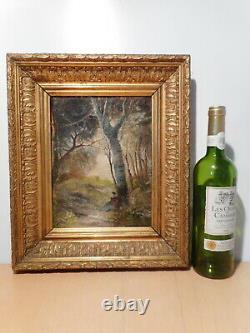 Tableau ancien peinture 19 siècle Louis GUY paysage campagne arbre sous bois