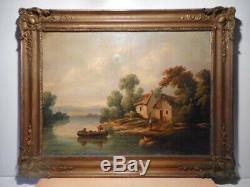Tableau ancien peinture 19 siècle Rousseau campagne bord rivière barque pecheur