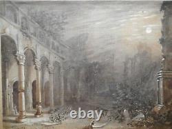Tableau ancien peinture 19 siècle école romantique femme prière ruine église