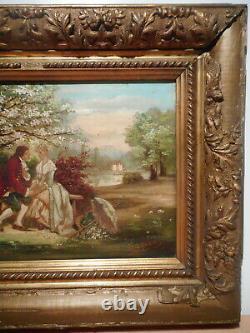 Tableau ancien peinture 19 siècle personnage scène galante parc jardin chateau
