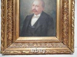 Tableau ancien peinture 19 siècle portrait buste homme moustachu