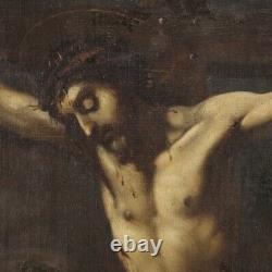 Tableau ancien peinture Crucifixion huile sur toile cadre 700 18ème siècle