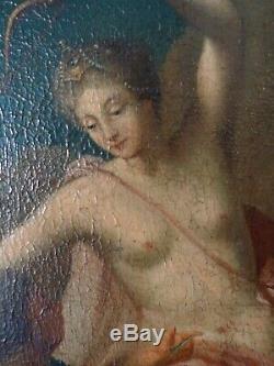Tableau ancien peinture Diane et Cupidon ecole Italienne Antique Old Painting