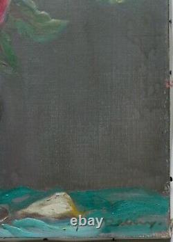 Tableau ancien peinture HST Nature morte Bouquet de roses XXe Paul Remy Lorrain