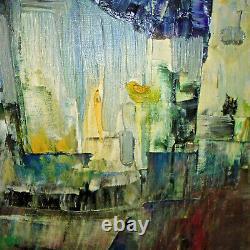 Tableau ancien peinture HST figuratif abstrait années 50 60 signé à identifier