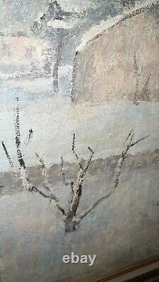 Tableau ancien peinture HST style sysley années 50 60 signé à identifier