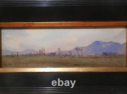 Tableau ancien peinture Lucien PERI paysage volcanique montagne volcan Auvergne