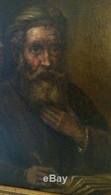 Tableau ancien peinture Rembrandt Saint Mathieu et L'Ange huile sur toile XVIIe
