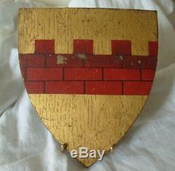 Tableau ancien peinture / bois blason de chevalier héraldique armoiries 19e