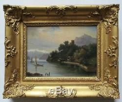 Tableau ancien peinture école Romantique paysage lac montagnes cadre doré XIXe