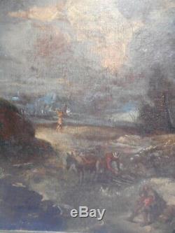 Tableau ancien peinture école hollandaise Pays Bas 17 18 th siècle personnage