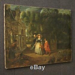 Tableau ancien peinture flamande huile sur toile paysage personnages cadre 800