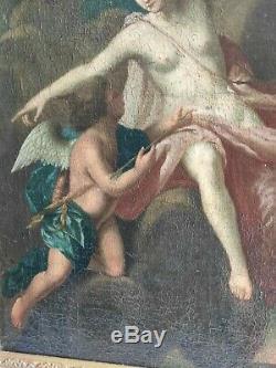 Tableau ancien peinture huile Ecole Italienne 18 ème DIANE CHASSERESSE ange