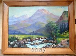 Tableau ancien peinture huile Guy Leflorentin répertorié montagne paysage neige