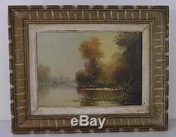 Tableau ancien peinture huile du peintre Darmont les bois de la Vienne
