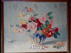 Tableau ancien peinture huile fleurs SMETANA 1943 vase grès flammé