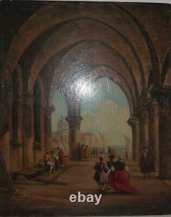 Tableau ancien peinture huile sur bois école italienne - non signé