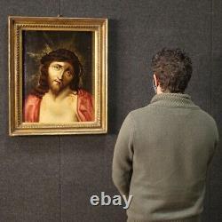 Tableau ancien peinture huile sur panneau cadre religieux Christ Ecce Homo 700